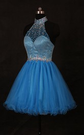 High-neck Short Tulle Dress With Beading And Sequins