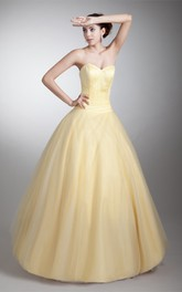 sweetheart a-line ball tulle gown with ruched waist and corset back