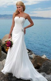 Sheath Column Strapless Chiffon Wedding Dress