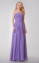 Strapless A-line Long Pleated Chiffon Dress With Ruched Waist