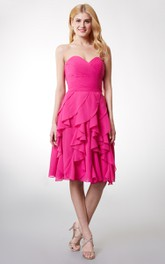 Lovely Sweetheart Ruched Short Chiffon Dress With Ruffled Skirt