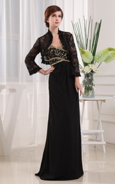 Refined Strapless Sheath Dress With Beading and Bolero