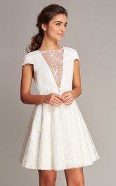 Casual Satin Lace Jewel Neck A Line Short Sleeve Short Length Wedding Dress with Deep-V Back