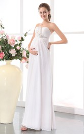 Sweetheart Sleeveless Floral Soft Flowing Fabric Empire Maternity Wedding Dress With Draping