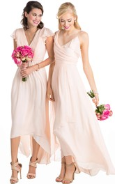 High-Low Cap Sleeve Ruched V-Neck Chiffon Muti-Color Convertible Bridesmaid Dress