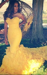 Gorgeous Sweetheart Yellow 2018 Prom Dresses Mermaid With Train