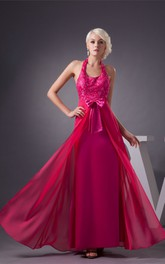 Sleeveless Ankle-Length Jeweled Dress with Bow and Halter