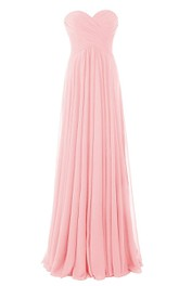 Sweetheart Criss-cross Chiffon A-line Gown With Zipper Back