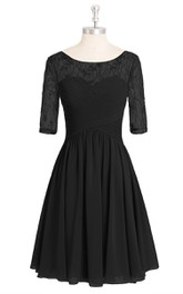 Half Sleeve A-Line Chiffon Dress With Bateau Neckline and Lace Top