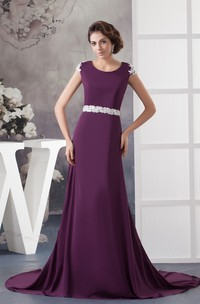 Caped-Sleeve Chiffon Long Dress with Appliqued Back Design