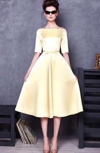 Bateau Half Sleeve Satin Knee-Length Dress