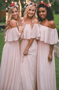 Chiffon Adorable Off-the-shoulder Bridesmaid Dress With Ruching And Pleats