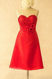 Knee-length Sweetheart Satin&Taffeta Dress