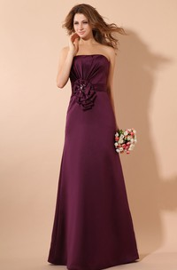 Magnificent Maxi Satin Dress With Ruching And Ruffle