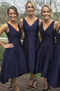A-Line V-neck Sleeveless Satin Dress