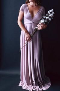Swan Lake Heather Satin Long Octopus Convertible Wrap Gown Wedding Maternity Dress