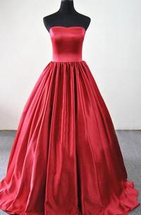 A-line Sweetheart Sweep Train Satin Dress