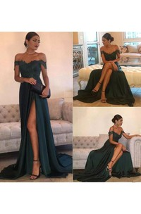 A-line Off-the-shoulder Sleeveless Floor-length Court Train Jersey Lace Evening Dress with Split Front