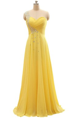 ff4d9b933 Floor-length One-Shoulder Chiffon Pleats Beading Dress