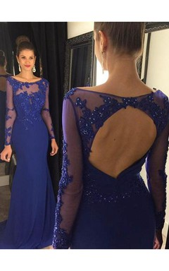 147bf4c76 Elegant Lace Appliques Sequined Evening Dress 2018 Mermaid Long Sleeve