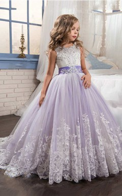 779911ac9 Sleeveless Scoop Neck Lace Ball Gown With Beading