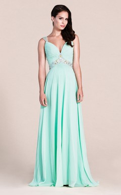 9b55652db Plunging Neck Long Prom Dress with colorful Beading