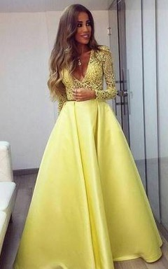9a509eddb Stunning Yellow Long Sleeve 2018 Prom Dress V-Neck Lace