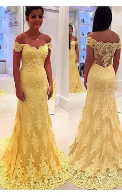bfcacdc91 Modern Yellow Lace Appliques Evening Dress 2018 Mermaid Off-the-shoulder