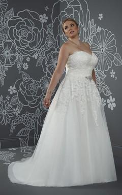 aa4a583d A-Line Long Sweetheart Sleeveless Satin Court Train Corset Back Waist  Jewellery Dress