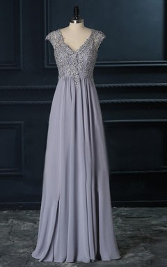 d1644887ad V-Neck A-Line Floor-Length Dress With Lace Top