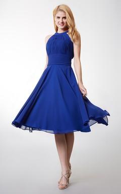 c26ff9dc7 A-line High Neck Tea Length Bridesmaid Dress With Keyhole Back