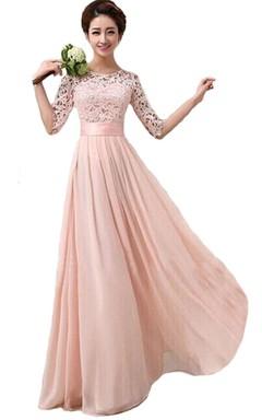 8837115fb Scoop vestido largo de boda con el cordón de la blusa y la correa