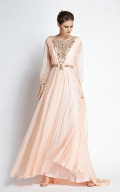 0b840c1b3c A-Line Bateau Puff Balloon Long Sleeve Floor-length Chiffon Prom Dress with  Beading