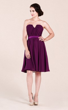 89bcc1e92 Notched Neck A-Line Short Bridesmaid Dress