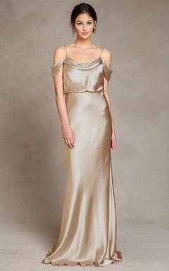 802a8b01a Floor-Length Spaghetti Sleeveless Satin Bridesmaid Dress With Low-V Back