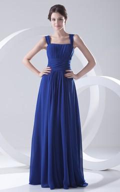 a5d1258d81 Vestido liso y plisado con tirantes finos y escote cuadrado hasta el suelo