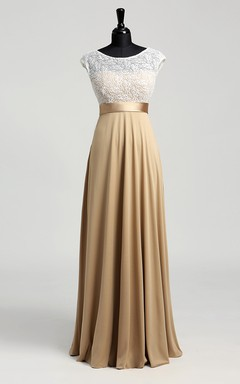 57e189ae5 Floor-length A-line Bateau Cap Short Sleeve Illusion Jersey Lace Dress