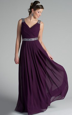 b148c1497a V Neck Back Dropping Chiffon Long Bridesmaid Dress With Crystal Straps And  Waist