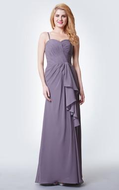 54757f416 Vestido largo bonito hecho en chifón con tirantes y top cruzado