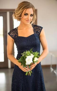 1d40c8dd1 Romantic Adorable Short Mini Sheath Square Lace Simple Sleeveless Keyhole  Bridesmaid Dress