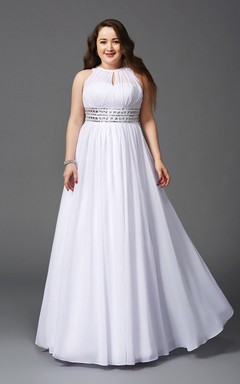 2ee952809d A-line Floor-length High Neck Sleeveless Chiffon Waist Jewellery Pleats  Illusion Dress