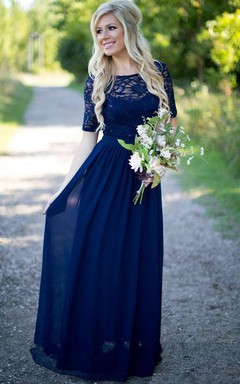 d860184c41 Half-sleeved Scoop Neck A-line Chiffon Lace Dress