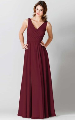 171a4c5e7 Maxi Sleeveless Ruched V-Neck Chiffon Bridesmaid Dress With Bow