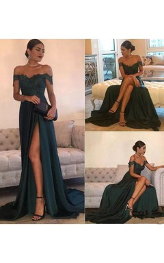 738af3b97ed A-line Off-the-shoulder Sleeveless Floor-length Court Train Jersey Lace
