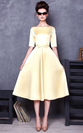 42b807c2e1c Bateau Half Sleeve Satin Knee-Length Dress ...