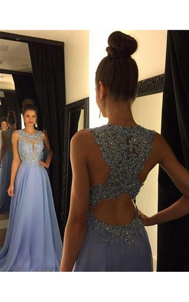 82b3fedf5ce Beautiful Lace Appliques Sleeveless Prom Dress 2018 Long Chiffon Party Gowns  ...