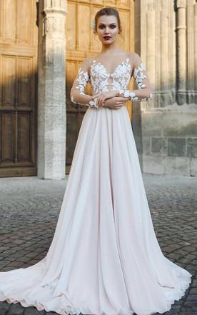 b47ad78345 Bateau Illusion Long Sleeve Appliqued A-Line Chiffon Wedding Dress ...