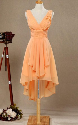 18865eac29 V-neck High Low Bridesmaid Dress With Draping ...