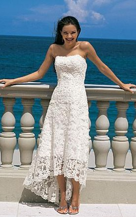 e19e474dac9 Gorgeous Sheath Column Strapless Asymmetry-length Lace Wedding Dresses ...