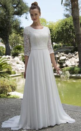 81f56dde Informal Modest Beach Scoop Neck Lace Chiffon Wedding Dress With 3-4  Sleeves ...